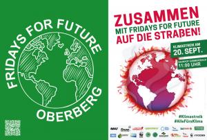 Einladung FFF Oberberg zum Klimastreik am 20.09.2019 - Das FFF Logo mit der grünen Erde steht dem Streikaufruf mit einer brennenden Erde auf weißem Grund gegenüber. Treffen: Am Bahnhof Gummersbach, 11Uhr