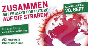 """Globaler KlimaStreik am 20.09 - Bild Globus rot, überzogen mit roten Flammen, Überschrift """"Zusammen - mit FFF - auf die Straßen!"""""""