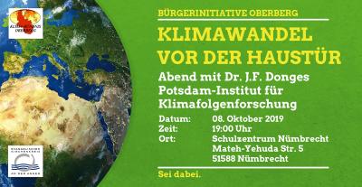 Klimawandel vor der Haustür, Abend mit Dr. Donges, Potsdam Institut für Klimafolgenforschung, 08.10.2019, 19 Uhr, Aula Schulzentrum Schulzentrum Nümbrecht