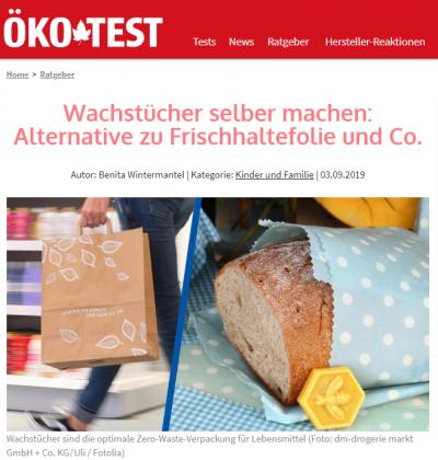 Öko-Test Artikel: Wachstücher selber machen: Altrnative zu Frischhaltefolie & Co.