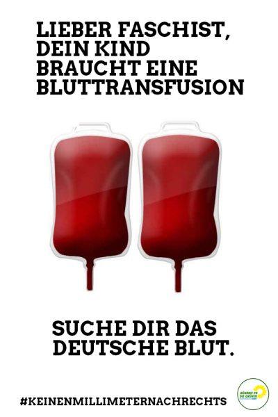 Lieber Faschist, dein Kind braucht eine Bluttransfusion - Bild mit zwei identischen med. Blutbeuteln - Suche dir das Deutsche Blut