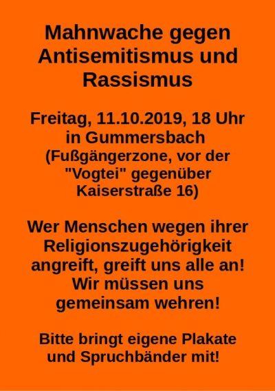 Mahnwache gegen Rassismus und rechte Gewalt in Gummersbach, 11.10.2019, 18h, vor der Vogtei, Kaiserstr. 16