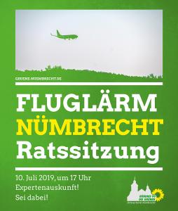 Grüner Grund, im Hintergrund ein Flugzeug im Tiefflug über einem Wald. Einladung zur Ratssitzung am 10.07.2019