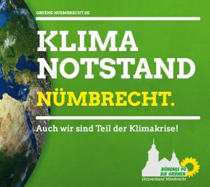 Bild mit grünem Hintergrund, Globus zur linken Seite, Logo des Grünen-Ortsverbandes Nümbrecht, Text mittig groß